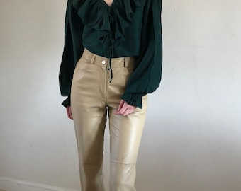 sand leather pants / vintage high waisted leather pants / 90s leather jeans / sand | 27W