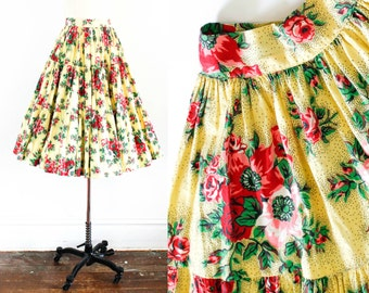 Vintage 1940s skirt . Summer Poppies . floral print tiered 40s skirt . yellow 1940s cotton circle skirt