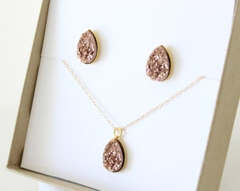 Necklace and earrings set - bridesmaid jewelry set - bridal jewelry set - rose gold necklace and earrings set - teardrop jewelry -