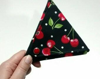 Sale, Unique coin purse, change purse, coin pouch, triangle, cherry, cherries