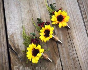 Sunflower Boutonniere, Burgundy Sunflower Boutonniere, Bullet Shell Boutonniere, Rustic Sunflower Boutonniere