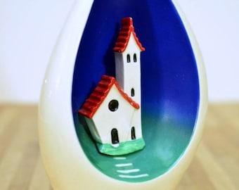 Italian Vase Bischoff Brandy Liquor Bottle 3-D House Decanter Upcycled Canova Italy