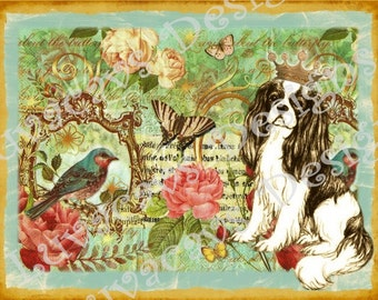 Spring Cavalier King Charles Spaniel Photo Collage/Vintage/Blank Card/Pretty!