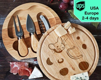 Mouse - Cheese board, Laser Engraved custom serving board