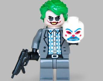 Custom The Joker with Bank Robber Mask minifigure DC Comics Super Villain  from The Dark Knight