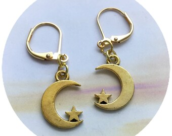 Gold Crescent Moon earrings, crescent moon and star, sold per pair (leave qty as 1)