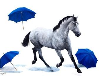 "Equine Fine Art Print Dapple Gray Horse ""Puddles"""