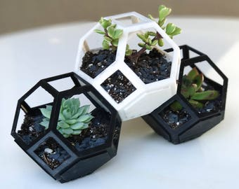 Geometric 3D Printed Planter Set of 3 - Modular and Stacking for Succulents and Cacti