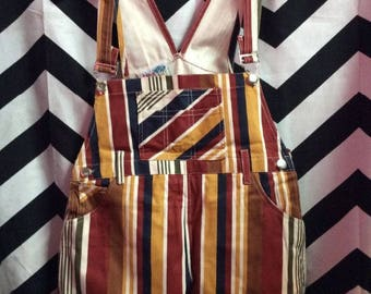 Multi Vertical Striped Overalls Shorts for Kids