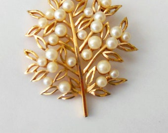 "Trifari brooch, faux pearls, gold plated, 2 1/2 "" long"