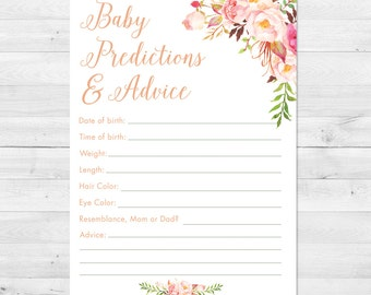 Baby Shower Prediction Card Printable, Boho Baby Shower Games, Baby Shower Advice Card, Baby Shower Games, Floral Baby Shower Predictions