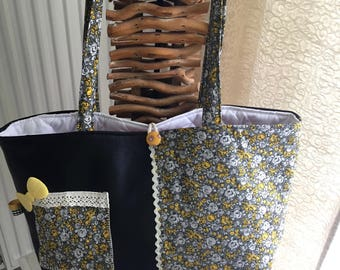 bag to knit with faux leather and cotton needle storage case