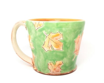 Green maple leaf Earthenware mug. Wheel thrown, food safe leafy mug made by Kaitlyn Brennan / Brennan Pottery