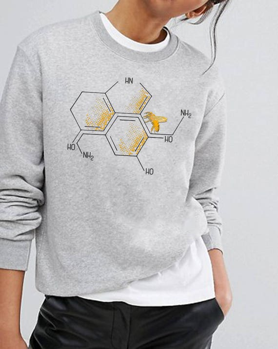 Nectar of Life | Unisex Heavy Blend Crewneck Sweatshirt | Serotonin and Dopamine chemical formulas in a honeycomb setup| Chemistry geek |