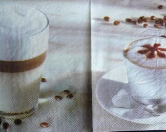 Coffee napkin with milk and whipped cream