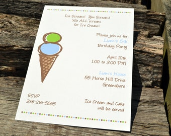Ice Cream Party Invitation Personalized Blue and Brown Set of Party Invitations