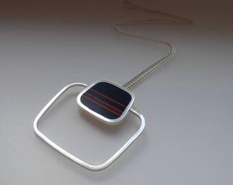 Statement Pendant - Inky Blue Striped Pendant - Square Silver Pendant - Graphico Pendant Stripes