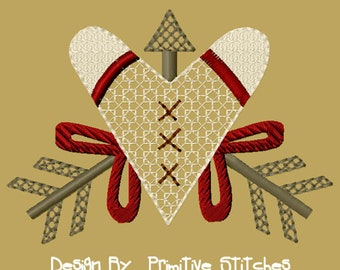MACHINE EMBROIDERY-Heart with Arrows-5x7-Fill-Instant Download