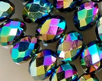 4 8 X 5 MM MULTICOLORED SWAROVSKI CRYSTAL BEADS.