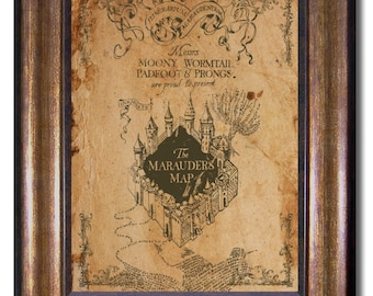 Harry Potter - Vintage Style Marauders Map- Available in Multiple Sizes 5x7, 8x10, 11x14, 16x20, 18x24, 20x24, 24x36