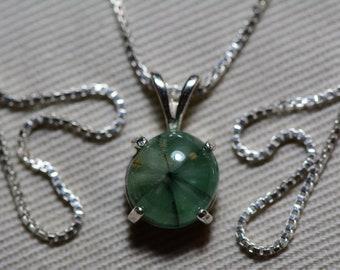 Trapiche Emerald Necklace, Certified Emerald Cabochon Pendant 2.61 Carat Colombian Emeralds, Real Genuine Natural Emerald Jewelry