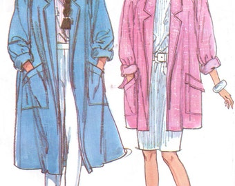 1980s Womens Duster Coat in 2 Lengths Unlined Raglan Sleeve Simplicity Sewing Pattern 7898 Size 10 12 Bust 32 1/2 to 34 UnCut