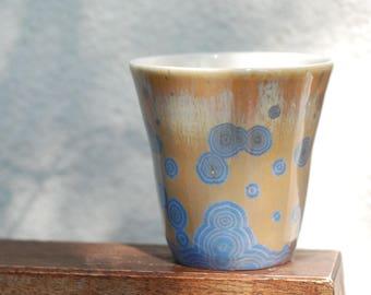 Pottery Coffee Mug, Porcelain Mug, Crystalline Glaze Ceramic Tea Cup, Cup for wife, One of a kind Coffee cup,  Pottery by Katarzyna Dobosz.