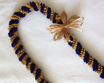 Blue and Gold Rick-Rack Lei with Bow