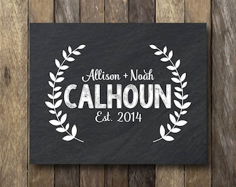Personalized Family Sign - Chalk Name Printable - Last Name Established - Digital Download - Family Established Print - Last Name Est Sign