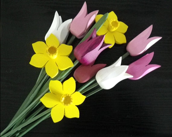 Spring Bouquet, daffodils, April, Cancer-Awareness-Month, Proceeds to Canadian Cancer Society, handcrafted wooden flowers, tulips, decor