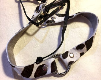 Leopard Print Choker - Black And White - Hair on Hide Leather with Cheetah print