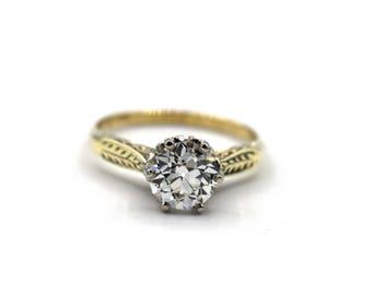 Antique Old European Cut Diamond Solitaire Engagement Ring
