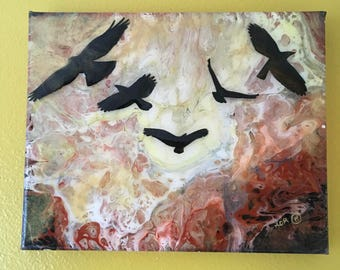 Painting: Crows in Flight Resin Coated Acrylic on Canvas Original Art