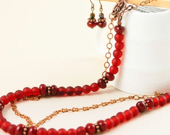 Red Beaded Necklace Jewellery Red necklace earring set Red jewellery set Red Statement necklace Bold statement Layering necklace Handmade