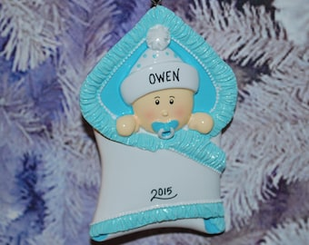 Personalized Baby Boy Bundle Christmas Ornament