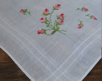 Pink Embroidered Flowers on White Handkerchief