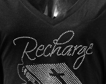 Recharge Off the Shoulder Rhinestone Tshirt/Bible/Faith/Bling