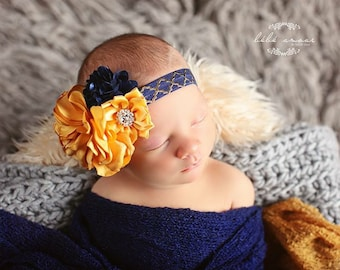 Mustard Yellow and Navy Blue Satin Flower Headband with Navy blue and Gold ElasticBand/Photo Prop/Gorgeous Gold Band/Photo Prop/Headband