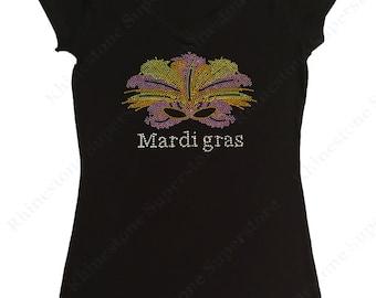"""Women's Rhinestud T-Shirt """" Mardi Gras Mask """" in S, M, L, 1X, 2X, 3X"""