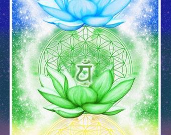 "Chakra Banner Sticker ~ 2.5"" x 10"", Flower of Life, Sacred Geometry, Beautiful, Yoga Art, Reiki, Spiritual Art, Chakra Art"