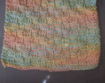 Hand knitted dish cloth/ wash cloth- multi colored / rainbow yarn ( pink, orange, green, and blue).