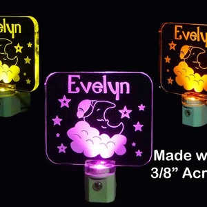 Baby Personalized Moon, Cloud, Starts LED Night Light Lamp, Nursery