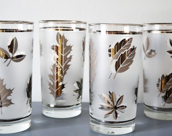LIBBEY Silver Gilded Glasses Set of Four Silver Leaves Water Glasses