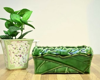 Vintage McCoy Green Leaf Planter Ceramic Rectangular Plant Holder Made in the USA