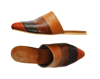 Flat Mules, Summer Flat Shoes, Leather Shoes, Pointed toe Flats, Leather flats, Mules.