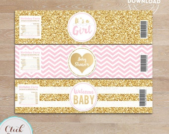 Pink and Gold Baby Shower Water Bottle Label, Gold Glitter, bottle wrappers, party supplies, Birthday Party, Instant download