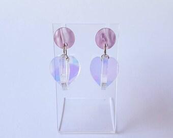 Iridescent Seed Pod Dangle Earrings, Laser Cut Acrylic Earrings