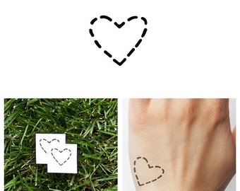 Dashed Heart - Temporary Tattoo (Set of 4)