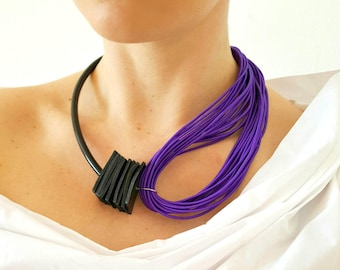 Purple necklace Statement necklace Popular necklace Gift for her Contemporary jewelry Asymmetrical necklace Multi strand necklace