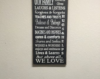 FREE SHIPPING! Our Family Sign - Primitive Family signs - Primitive Wood Signs - Family Signs - Family Rules